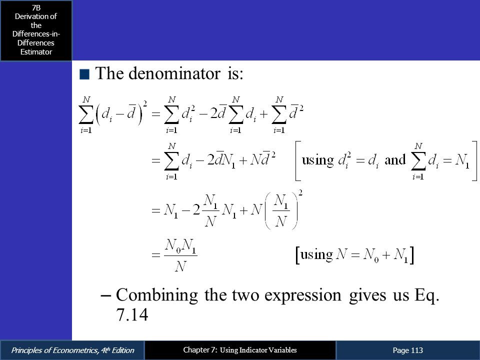 Derivation of the Differences-in-Differences Estimator
