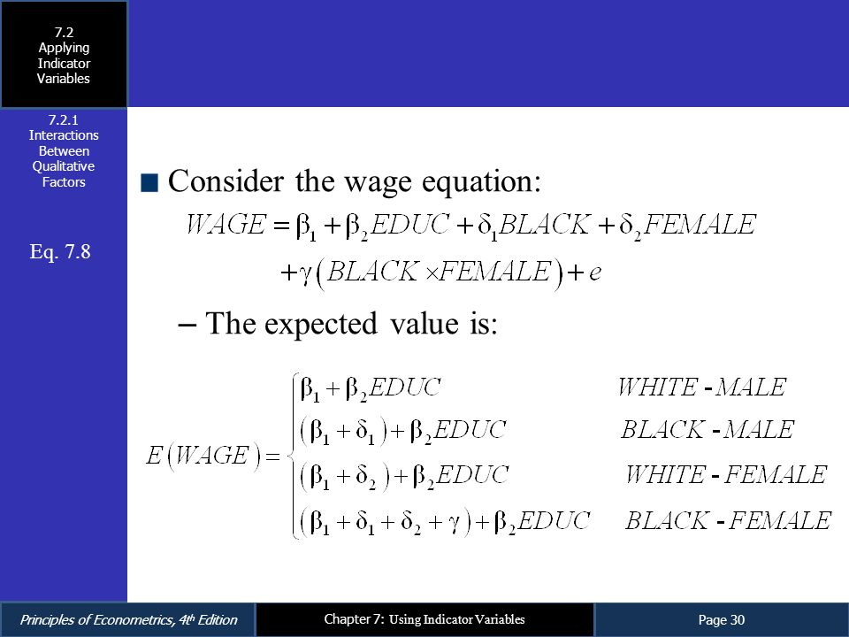 Consider the wage equation: