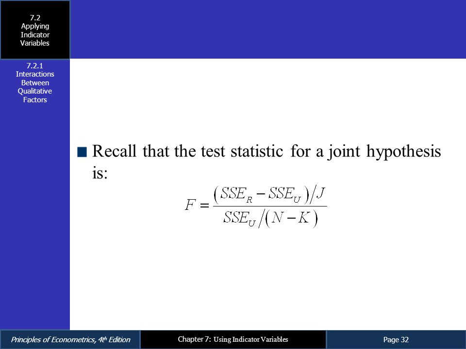 Recall that the test statistic for a joint hypothesis is: