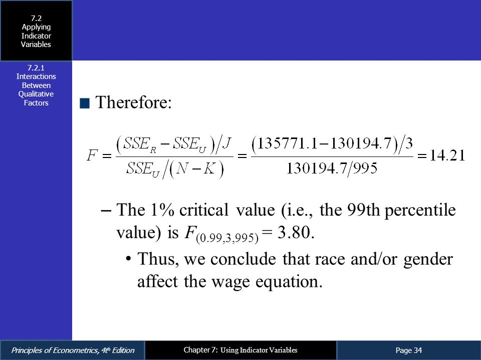 Thus, we conclude that race and/or gender affect the wage equation.
