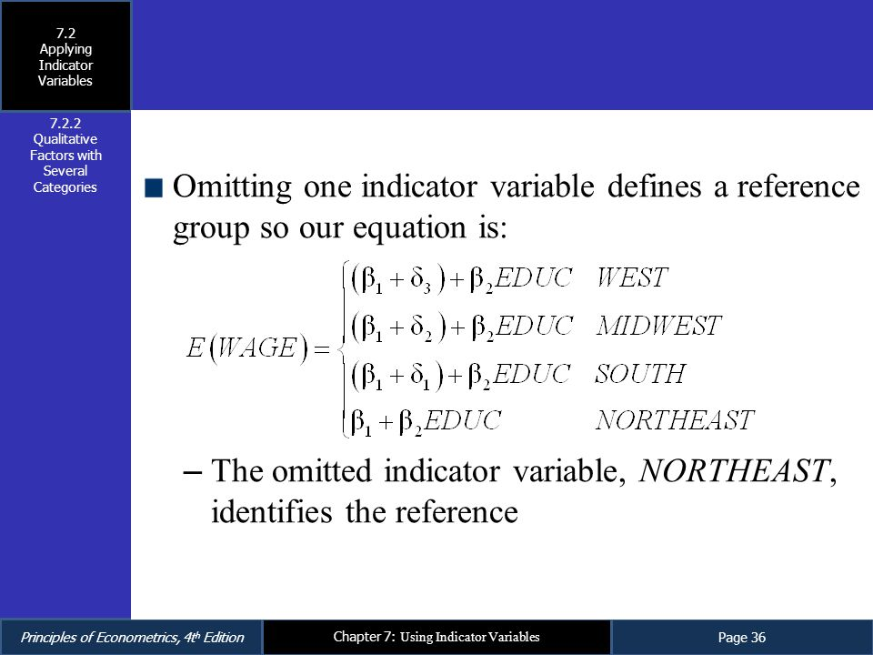 The omitted indicator variable, NORTHEAST, identifies the reference