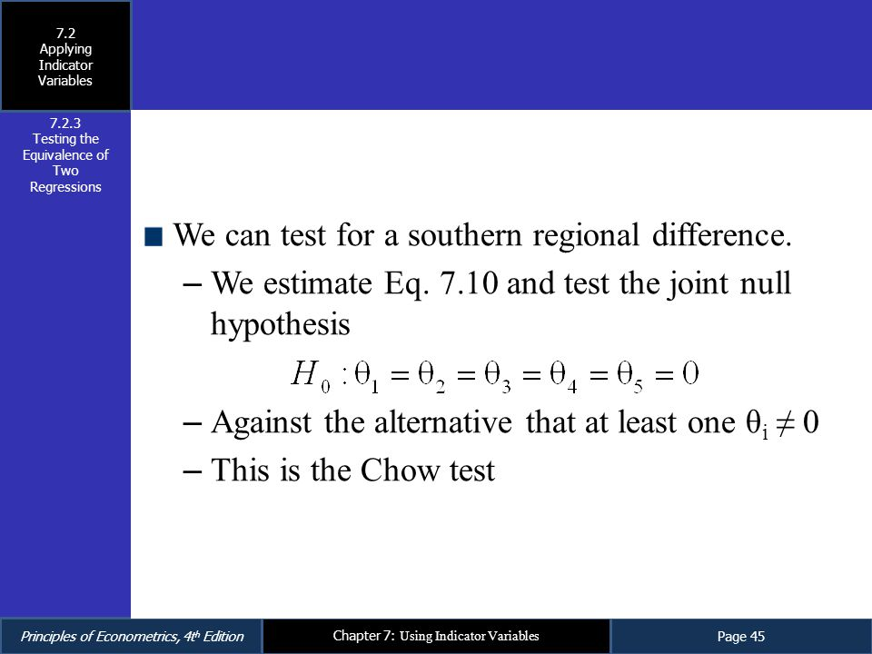 We can test for a southern regional difference.