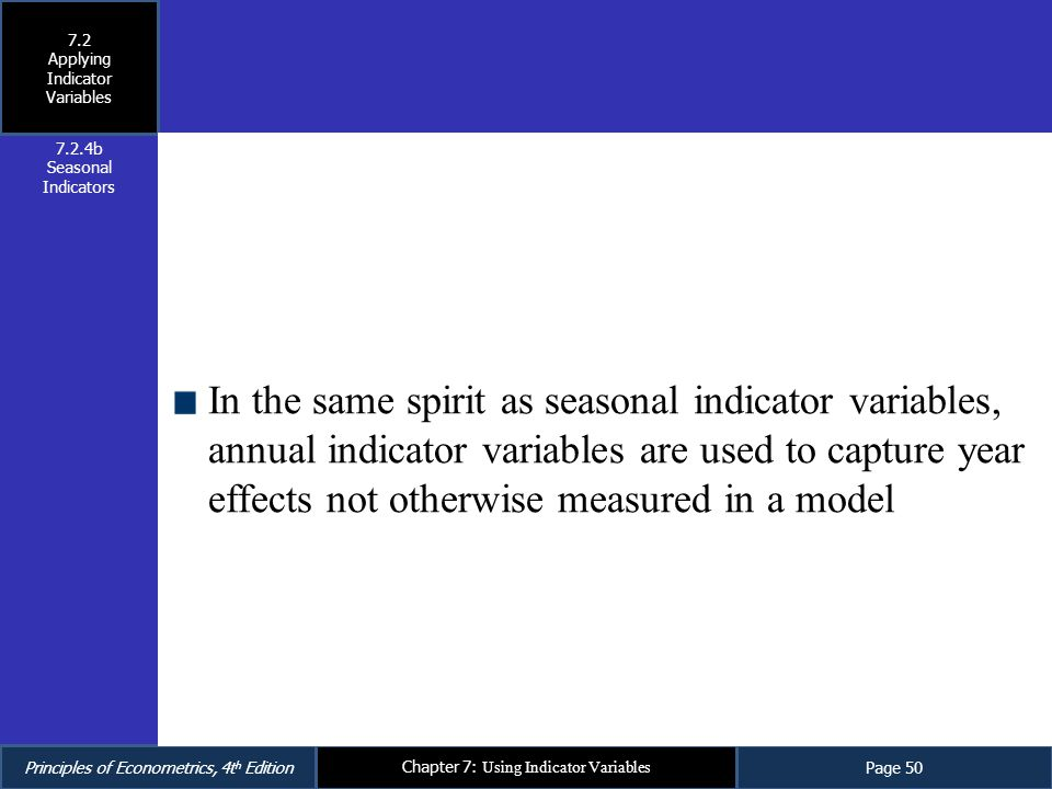 Applying Indicator Variables