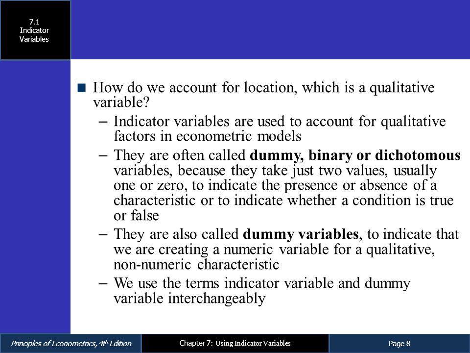 How do we account for location, which is a qualitative variable