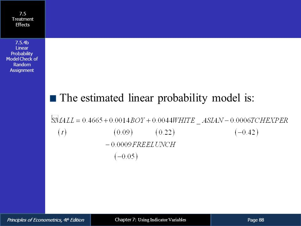 Linear Probability Model Check of Random Assignment