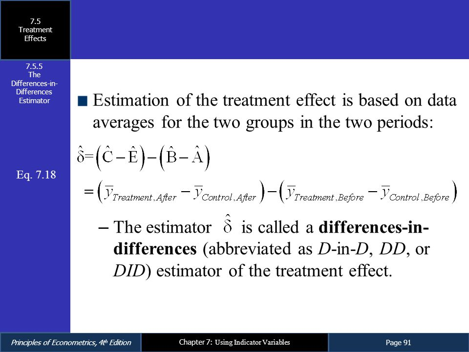 The Differences-in-Differences Estimator