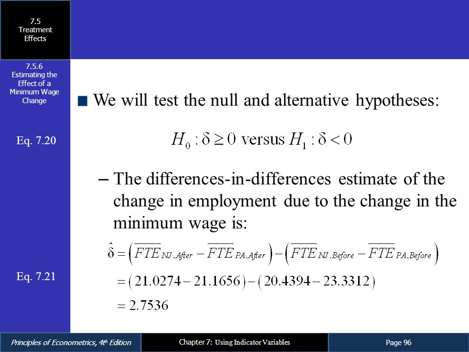 Estimating the Effect of a Minimum Wage Change