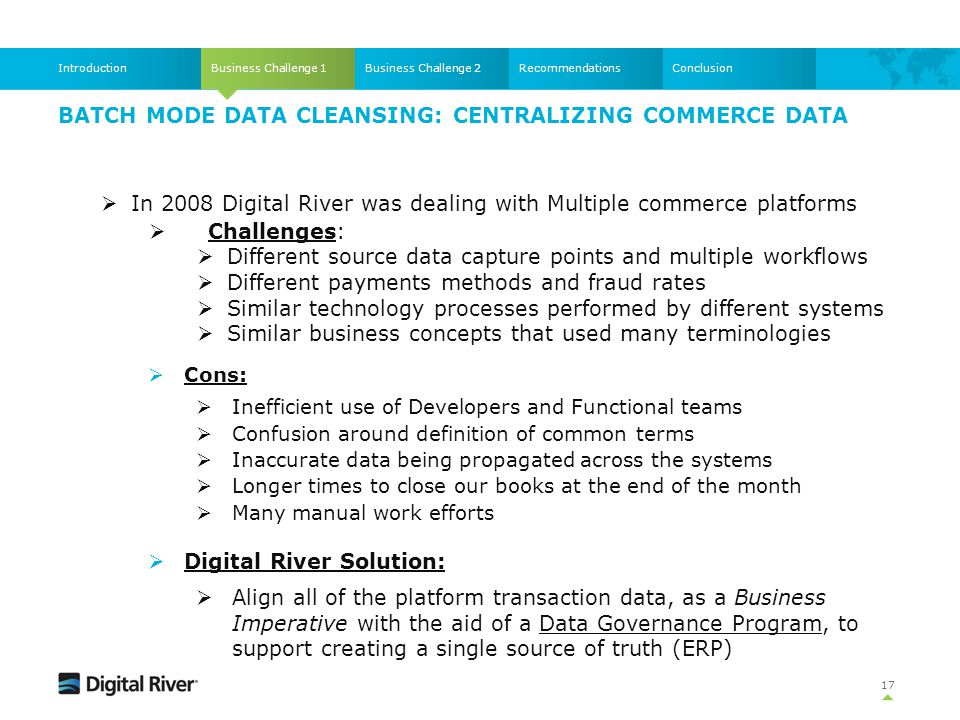 Batch mode Data Cleansing: Centralizing commerce data