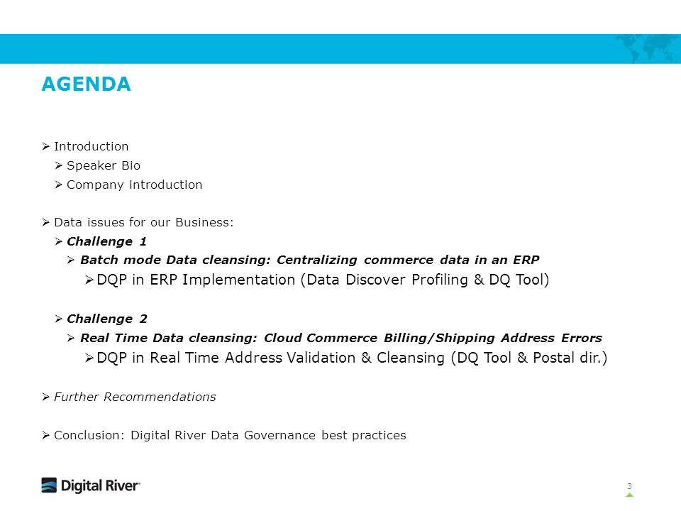Agenda DQP in ERP Implementation (Data Discover Profiling & DQ Tool)