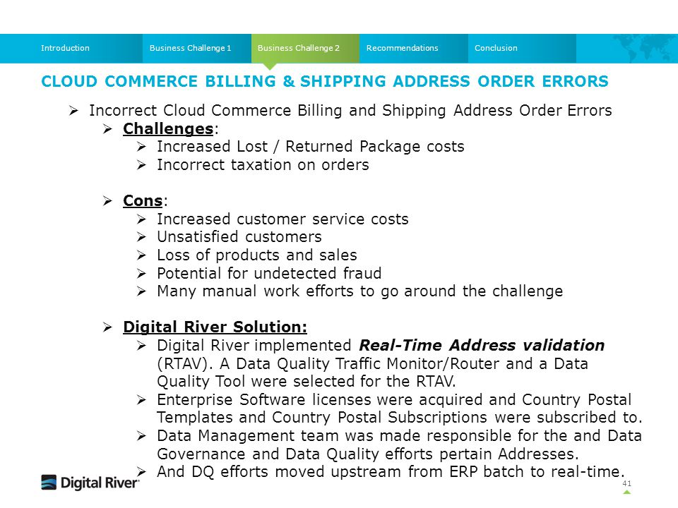 Cloud Commerce Billing & Shipping Address Order Errors