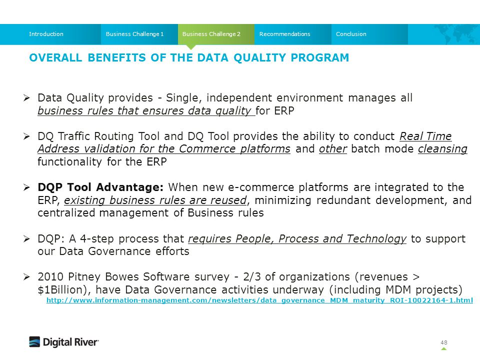 OVERALL BENEFITS of the DATA QUALITY Program