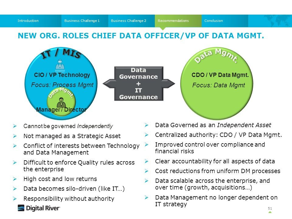 New Org. roles Chief Data Officer/VP of Data Mgmt.