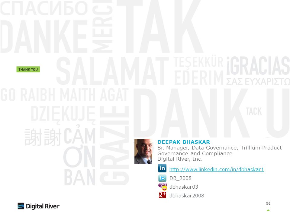 DEEPAK BHASKAR Sr. Manager, Data Governance, Trillium Product Governance and Compliance. Digital River, Inc.