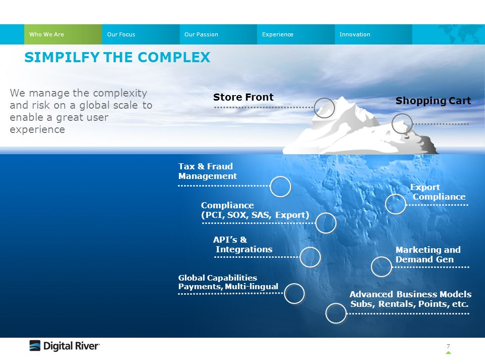 Who We Are Our Focus. Our Passion. Experience. Innovation. simpilfy the complex.
