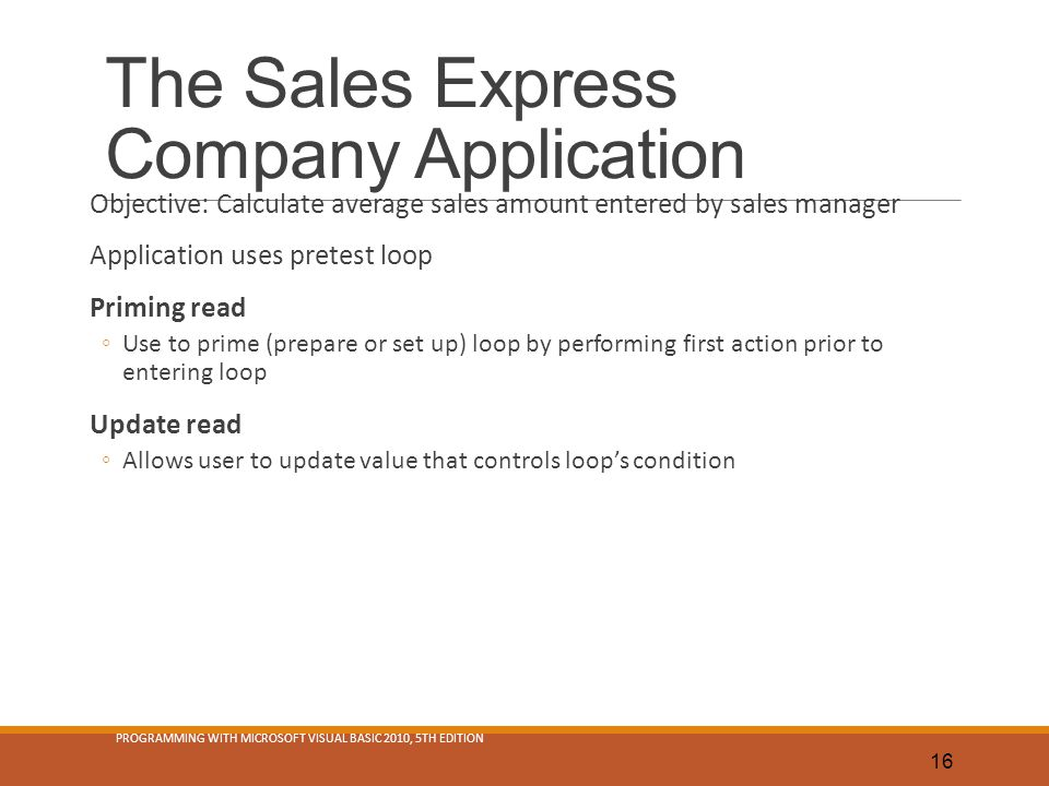 The Sales Express Company Application