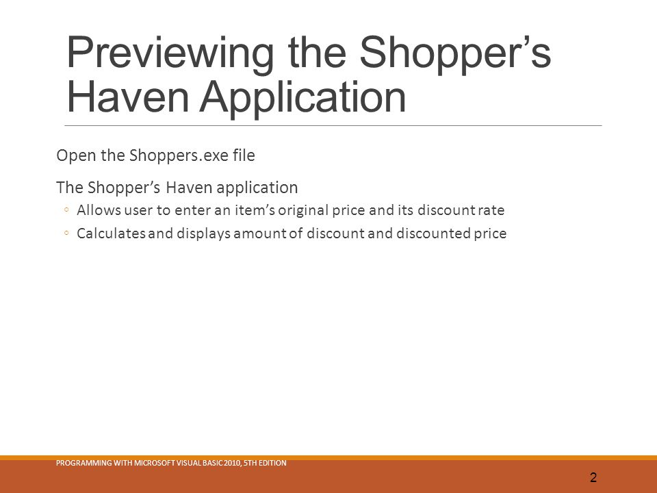 Previewing the Shopper's Haven Application