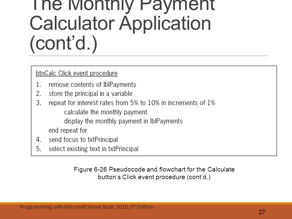 The Monthly Payment Calculator Application (cont'd.)