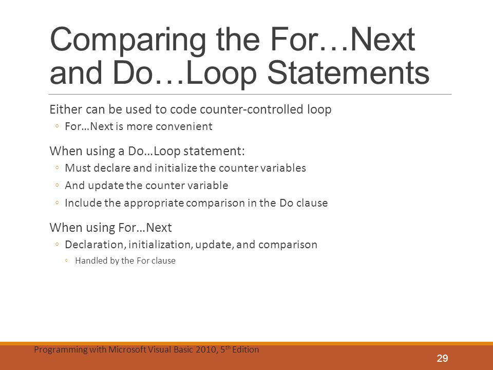 Comparing the For…Next and Do…Loop Statements