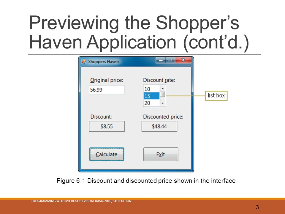 Previewing the Shopper's Haven Application (cont'd.)