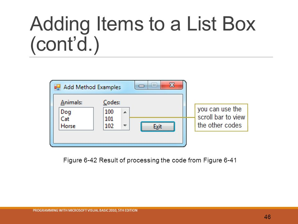 Adding Items to a List Box (cont'd.)