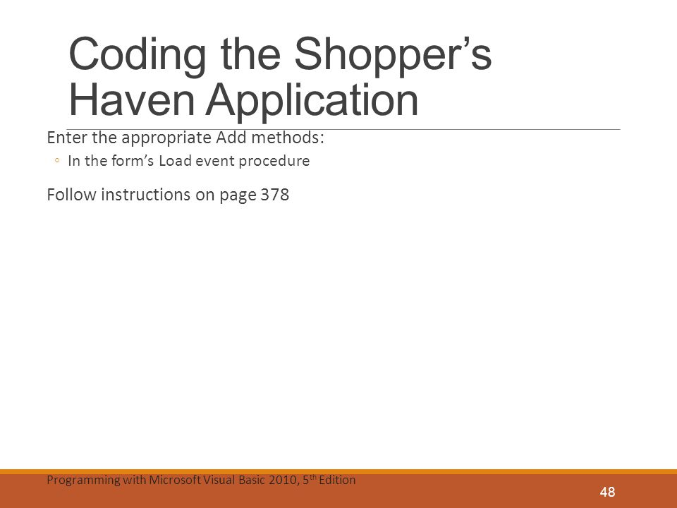 Coding the Shopper's Haven Application