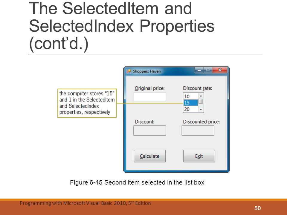The SelectedItem and SelectedIndex Properties (cont'd.)