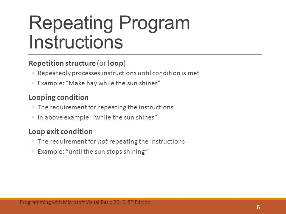 Repeating Program Instructions