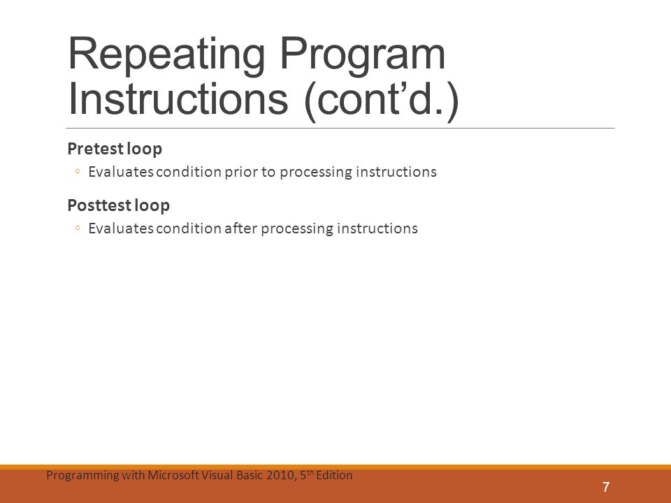 Repeating Program Instructions (cont'd.)