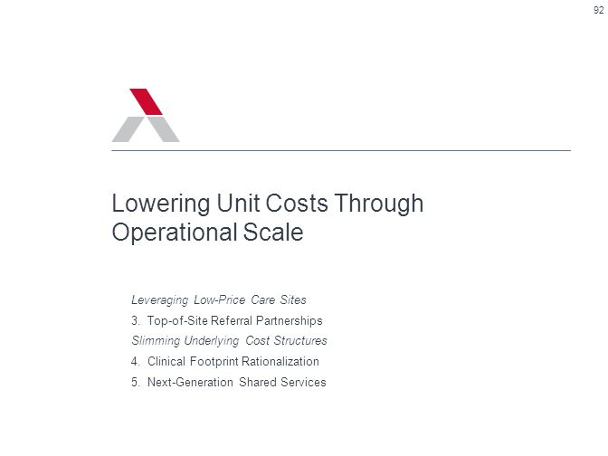 Lowering Unit Costs Through Operational Scale