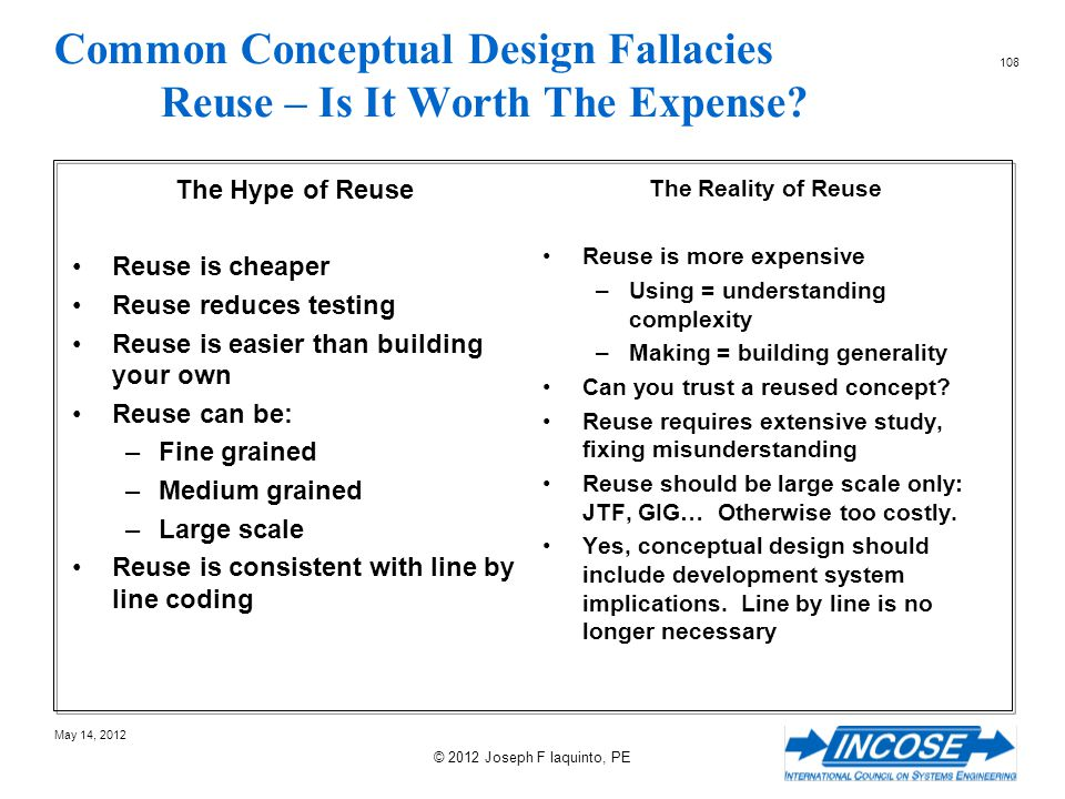 Common Conceptual Design Fallacies Reuse – Is It Worth The Expense