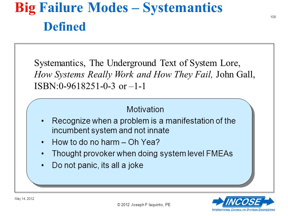 Big Failure Modes – Systemantics Defined