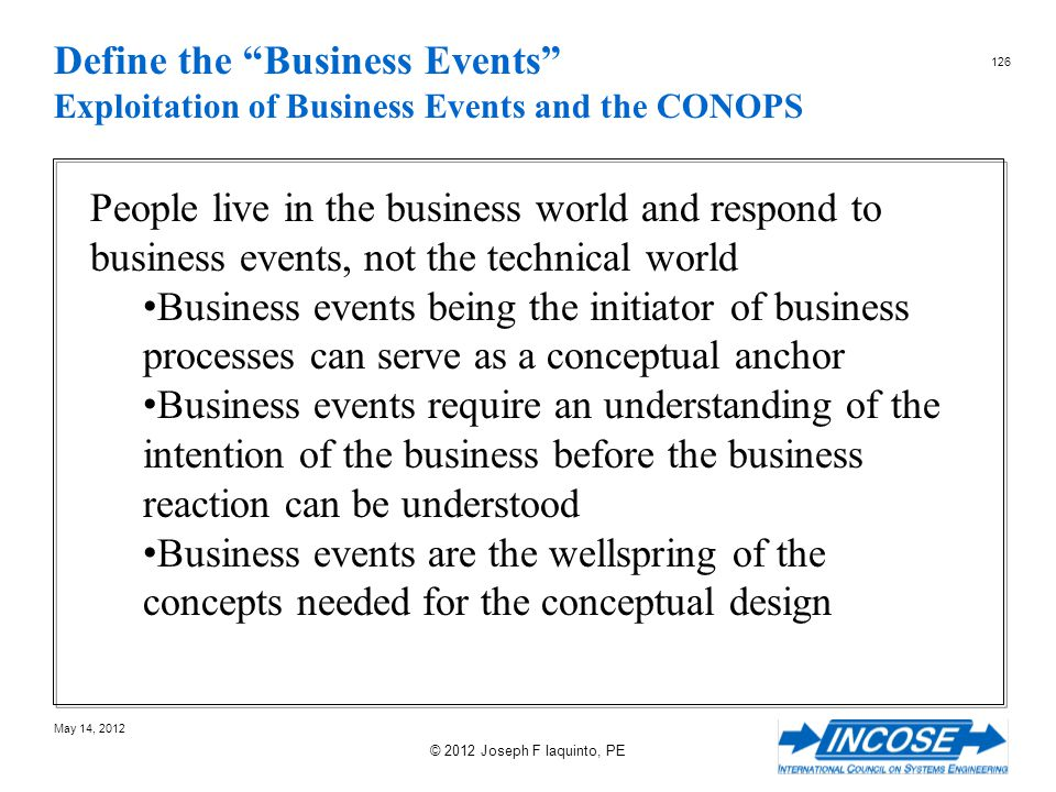 Define the Business Events Exploitation of Business Events and the CONOPS