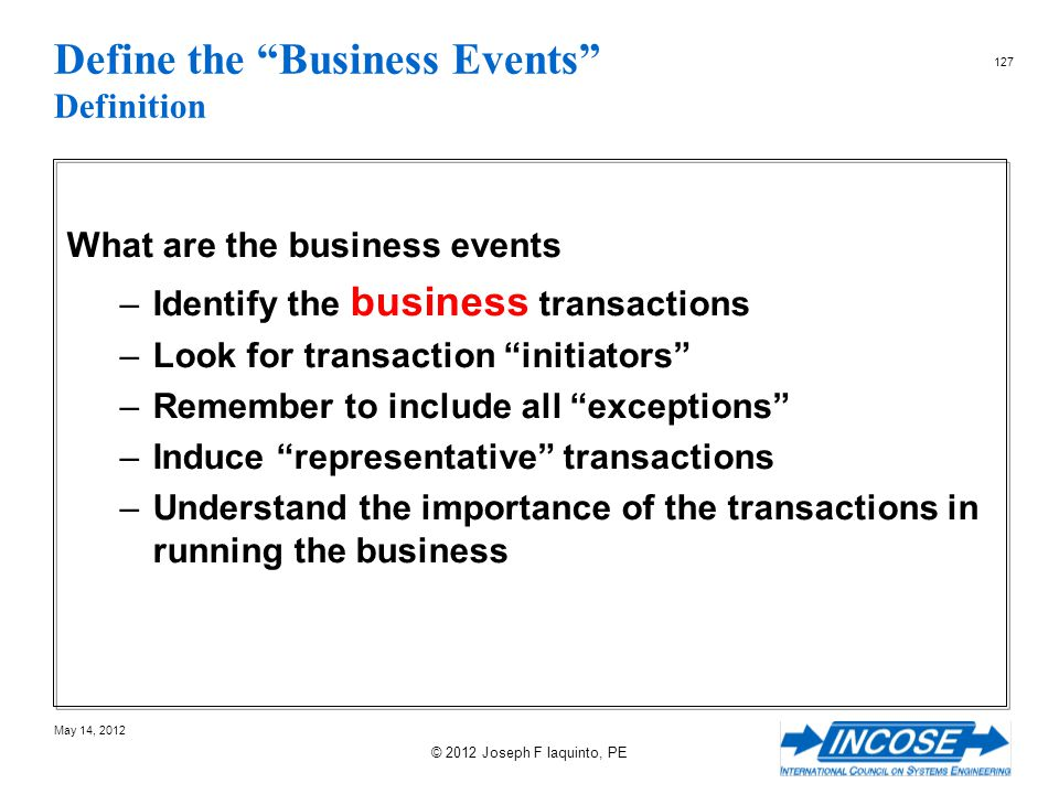 Define the Business Events Definition