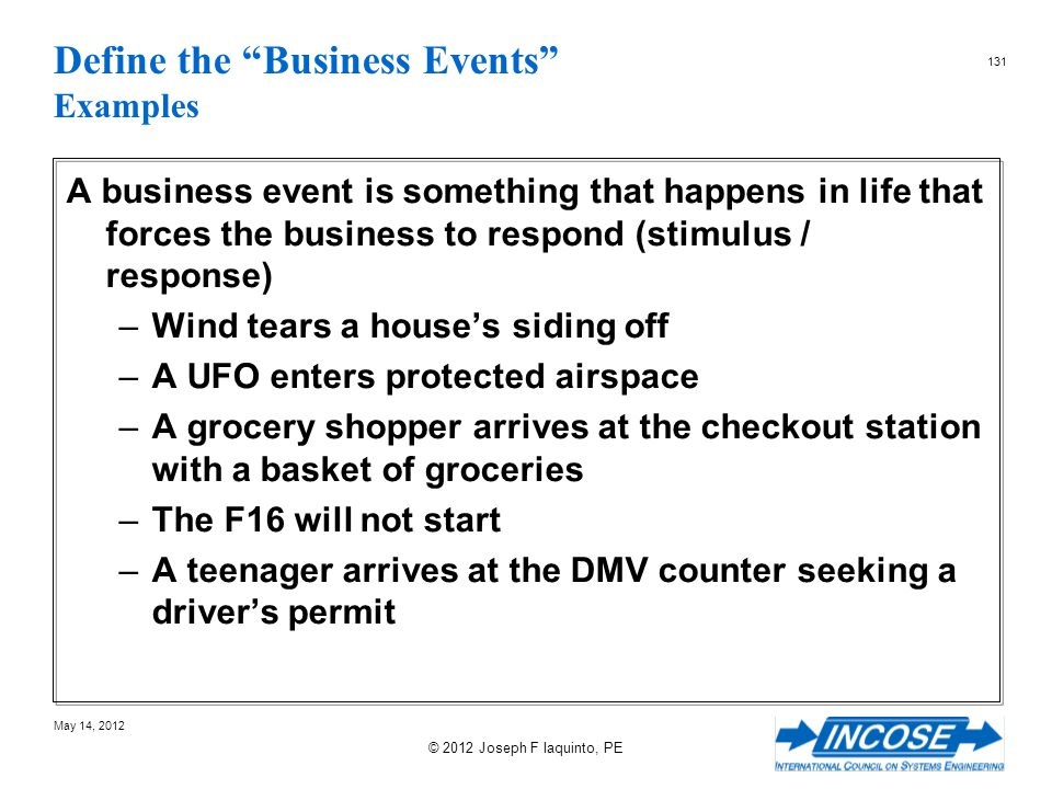 Define the Business Events Examples