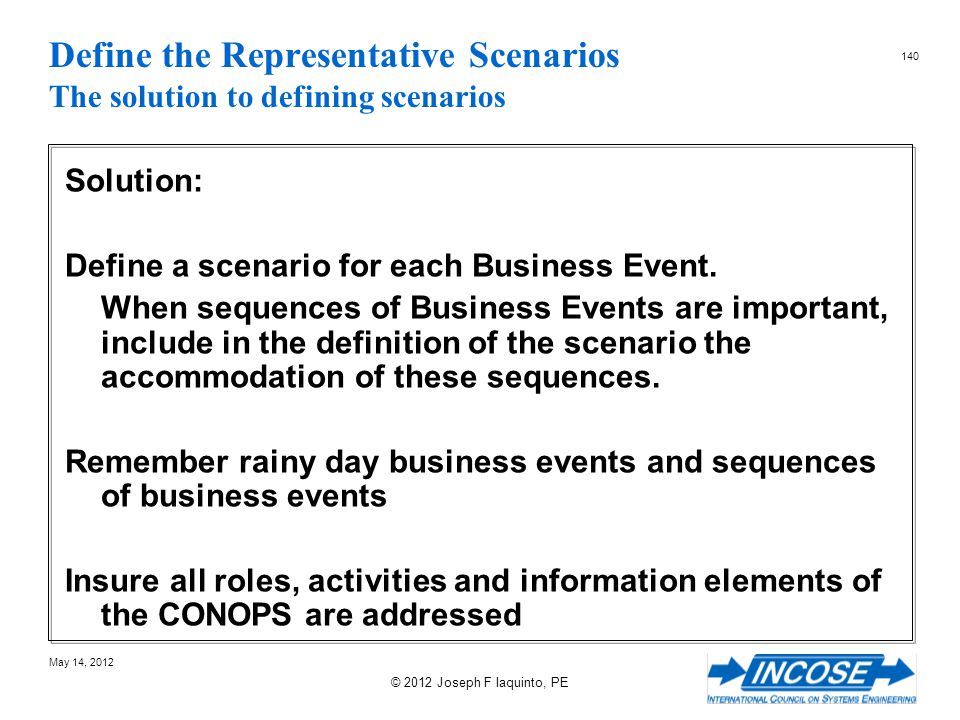 Define the Representative Scenarios The solution to defining scenarios