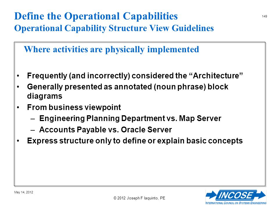 Define the Operational Capabilities Operational Capability Structure View Guidelines