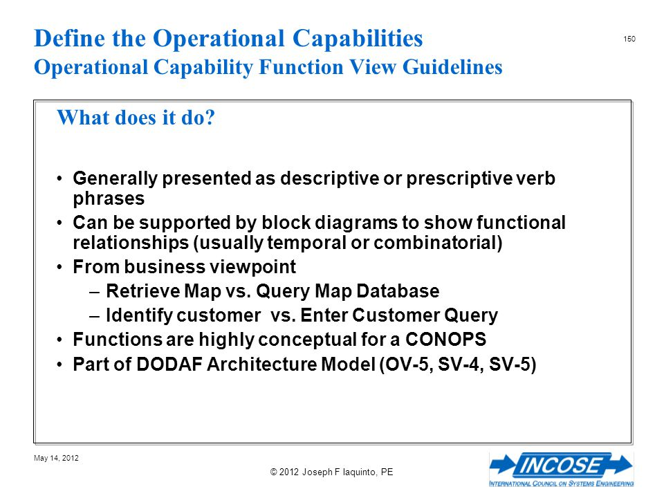 Define the Operational Capabilities Operational Capability Function View Guidelines