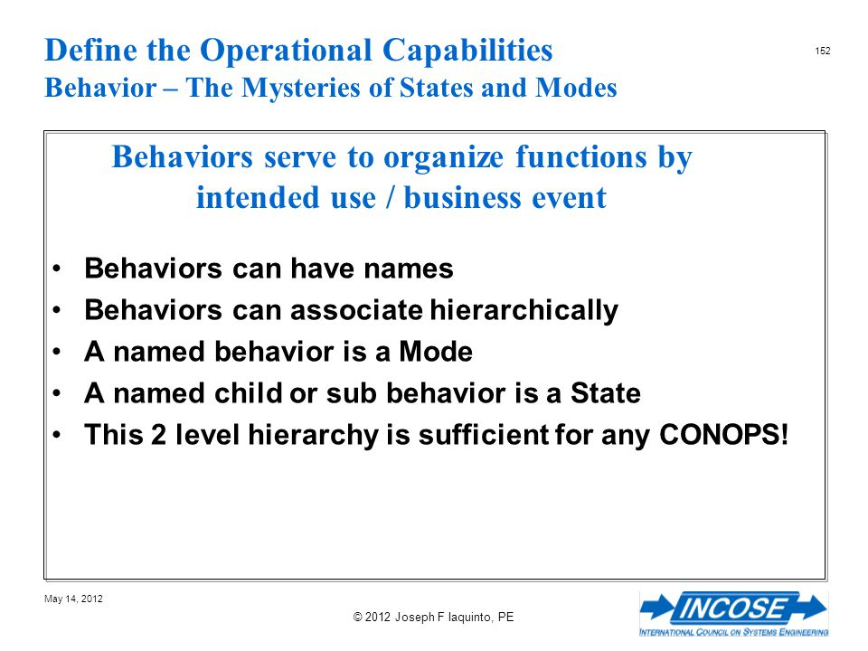 Behaviors serve to organize functions by intended use / business event