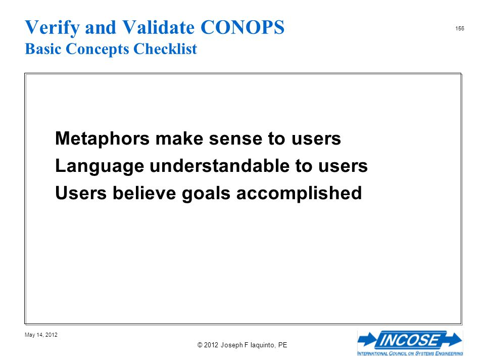 Verify and Validate CONOPS Basic Concepts Checklist