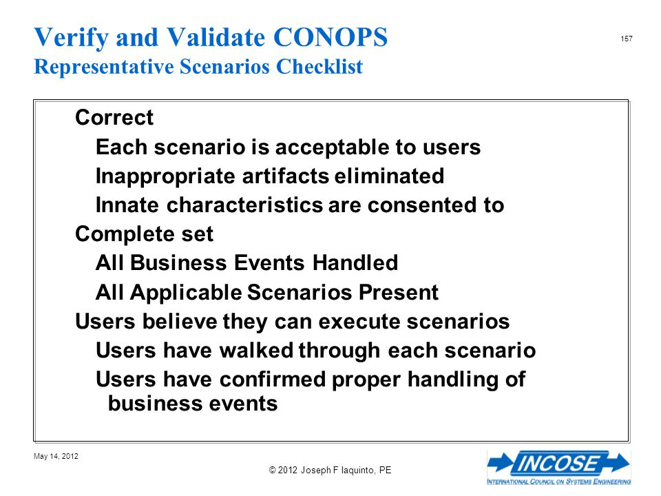Verify and Validate CONOPS Representative Scenarios Checklist