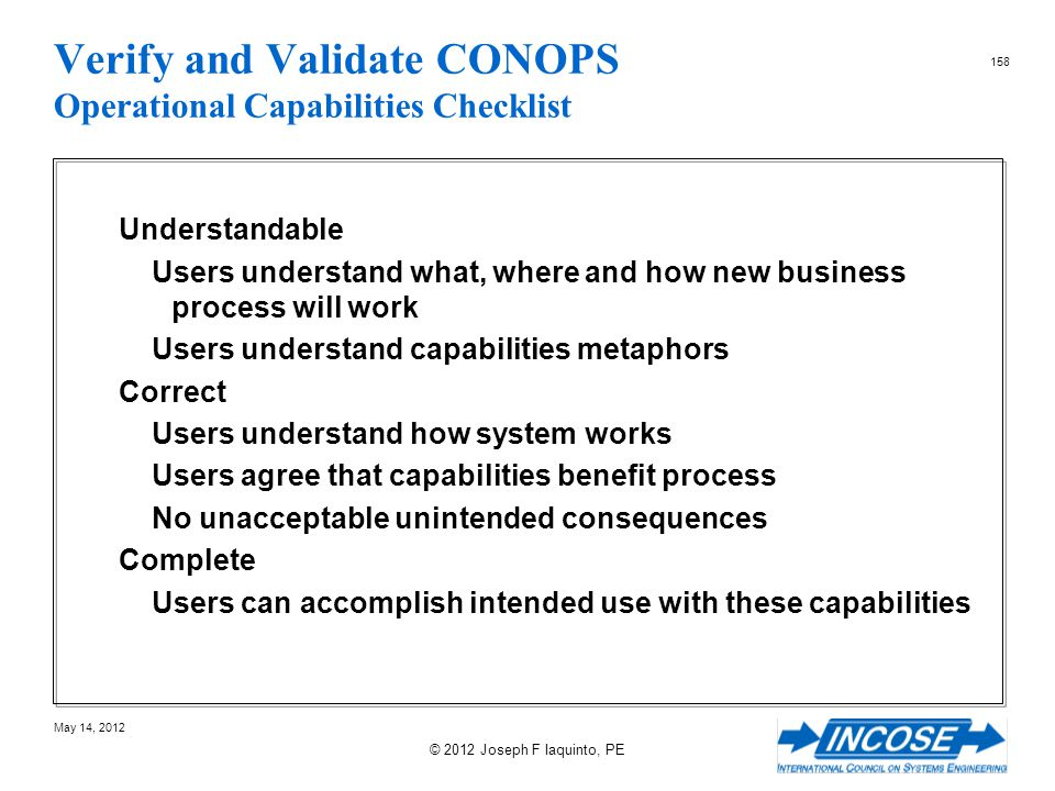 Verify and Validate CONOPS Operational Capabilities Checklist