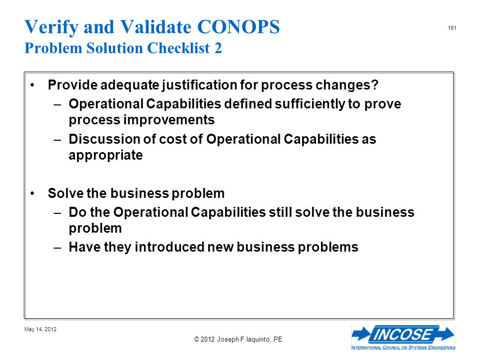 Verify and Validate CONOPS Problem Solution Checklist 2