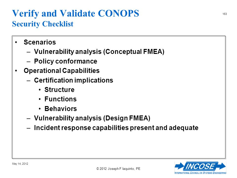 Verify and Validate CONOPS Security Checklist