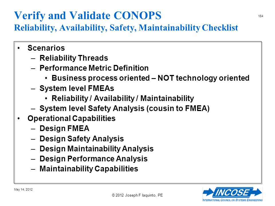 Verify and Validate CONOPS Reliability, Availability, Safety, Maintainability Checklist