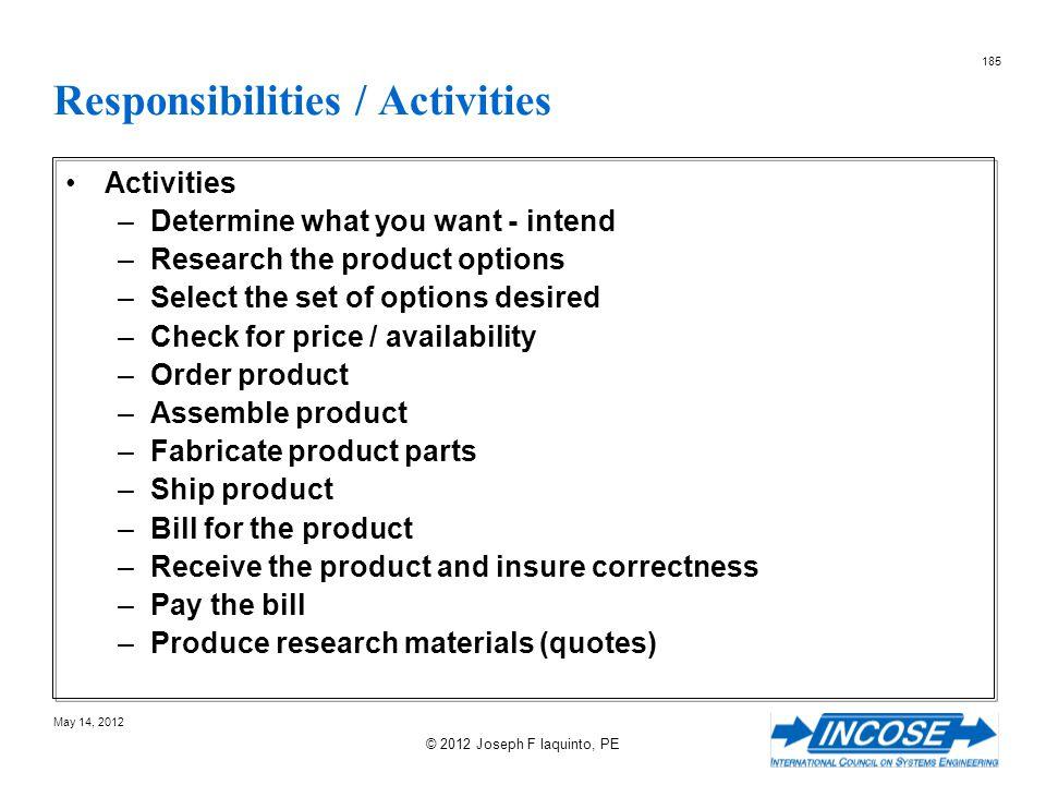 Responsibilities / Activities