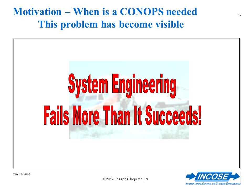 Motivation – When is a CONOPS needed This problem has become visible