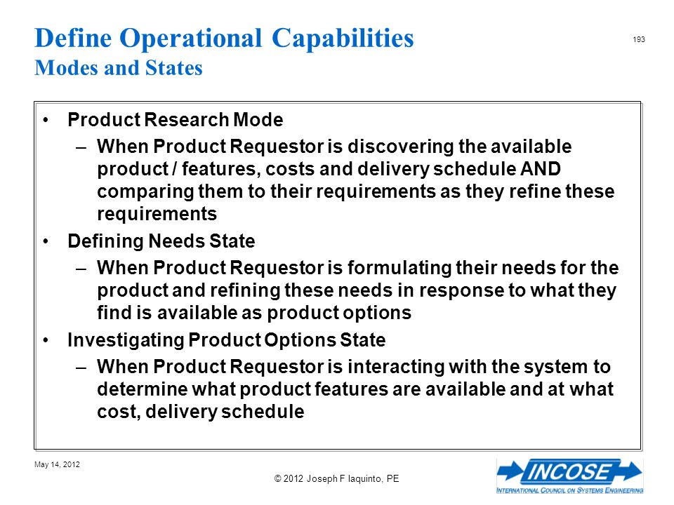 Define Operational Capabilities Modes and States