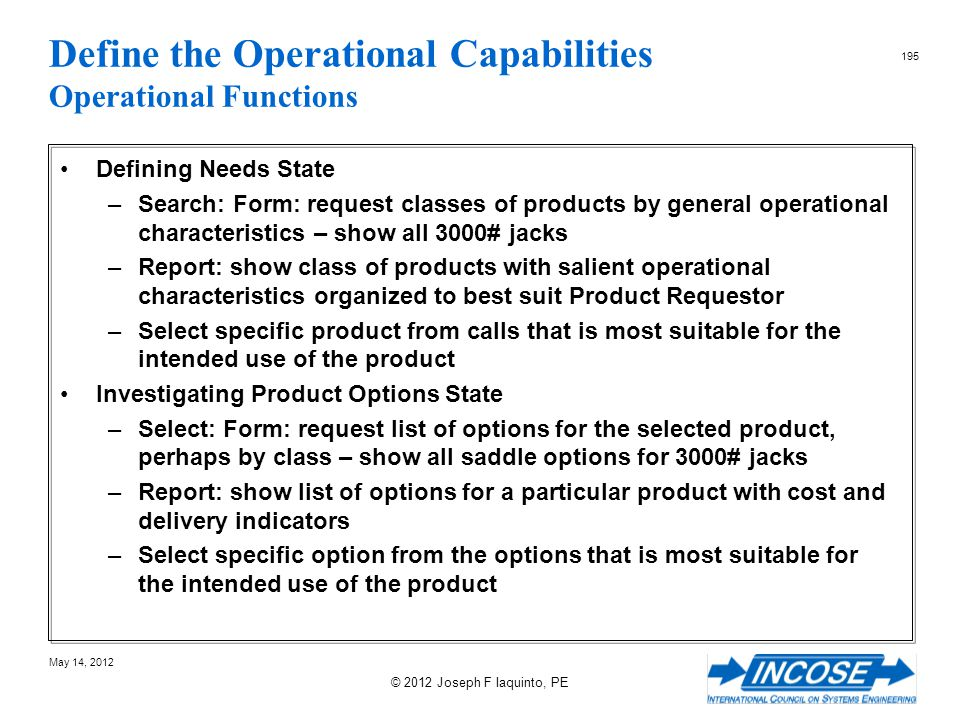 Define the Operational Capabilities Operational Functions