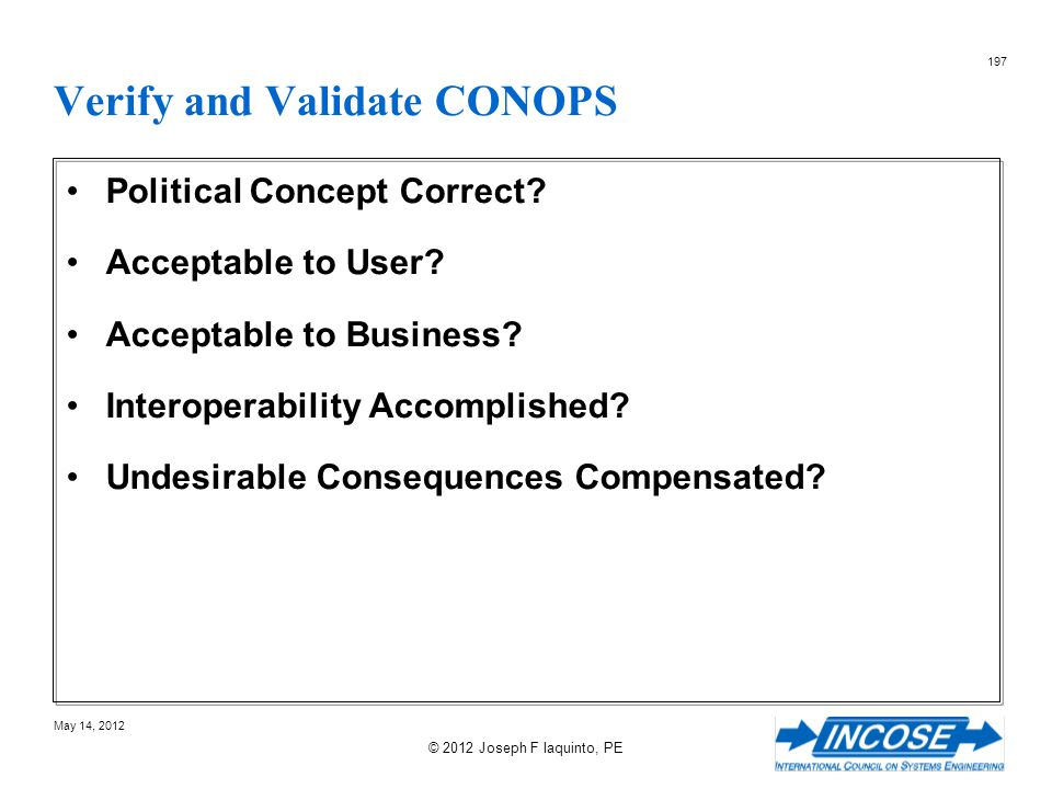 Verify and Validate CONOPS