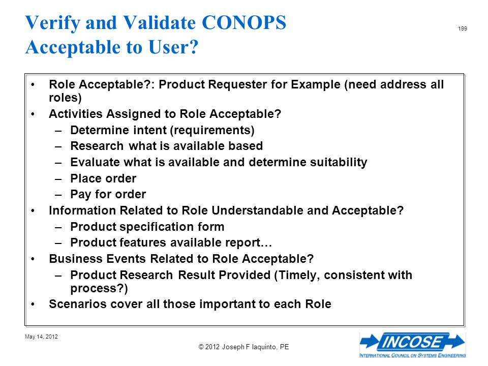 Verify and Validate CONOPS Acceptable to User